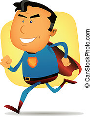 Comic Superhero Running - Illustration of a cartoon happy...