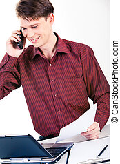 Businessman at work - Photo of successful man speaking on...