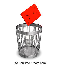 Letter Wastebasket - Red email and steel wastebasket on the...