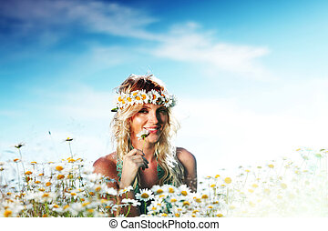 girl on the daisy flowers field - beautiful girl on the...