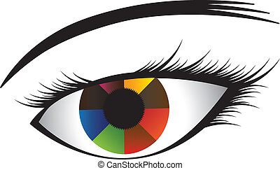Colorful illustration of human eye with multicolored iris...