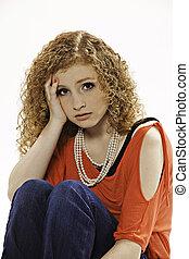 Pretty Worried Teenage Girl - Pretty teenage female girl...