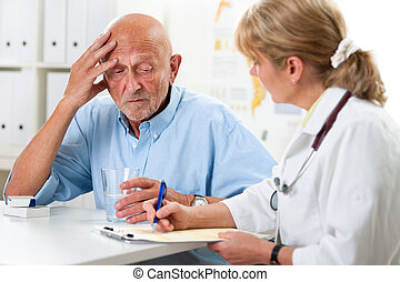 Medical exam - Patient tells the doctor about his health...