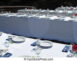 Outdoor Dinner Party - Banquet tables set for outdoor garden...