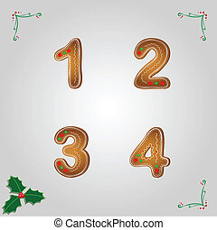 Gingerbread numbers 1 to 4 - Christmas gingerbread numbers...