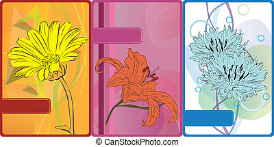 set of cards with flowers