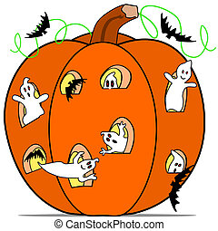 Ghost in the pumkin - Cartoon illustration of a few ghost...