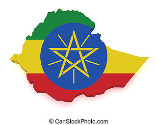 Ethiopia Map 3d Shape - Shape 3d of Ethiopia map with flag...