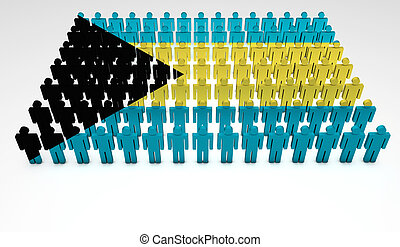 Bahamas Parade - Parade of 3d people forming a top view of...