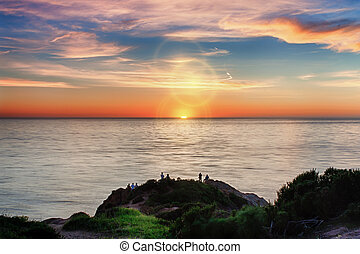 Sunset at Point Dume - A Vibrant Pacific Ocean Sunset at...