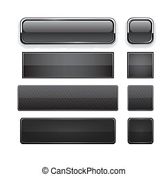 Black high-detailed modern web buttons - Set of blank black...