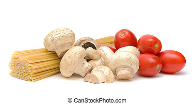 pasta, mushrooms, tomatoes on a white background