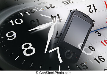 Smart Phone, Calendar and Clock - Composite of Smart Phone,...