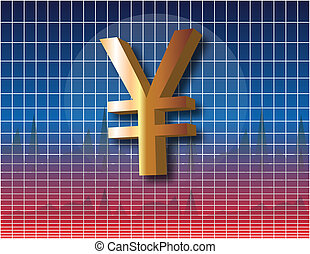 Print - Yen currency symbol over financial chart diagram