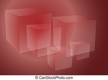 Abstract cubes red - Abstract isometric geomtetric design of...