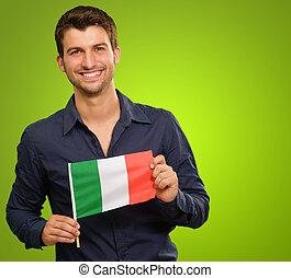 Um, jovem, homem, segurando, Um, bandeira, de, Itália