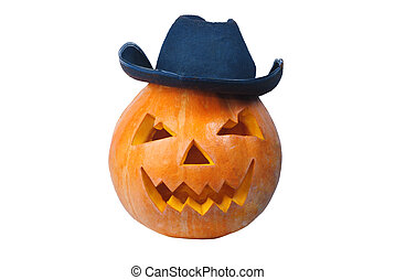 Cowboy pumkin with smily face and hat