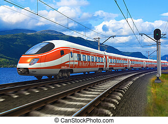 High speed train driving across mountain scenery with motion...