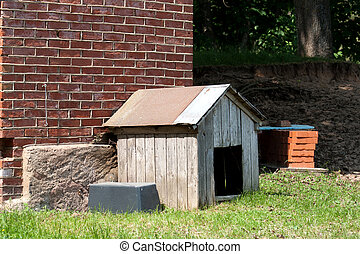dog house - simple wooden dog house in rural farm