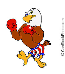 American Bald Eagle - Hand drawn cartoon of a boxing eagle