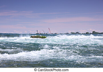 Niagara River Rapids - Rapids of Niagara River above falls...