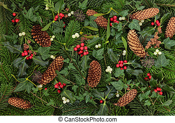 Winter Flora and Fauna - Winter flora and fauna of holly,...