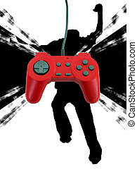 game controller w clipping path - A red game controller...