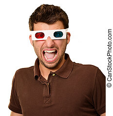 Portrait Of A Young Man Wearing 3d Glasses On A White...