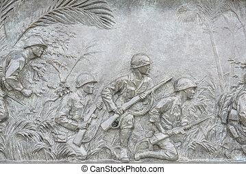 nosotros, infantería, guerra, placa, Washington, CC,...