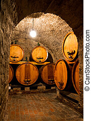 Wine cellar - View into an old wine cellar with large...