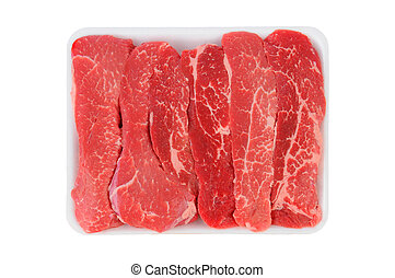 Tri-Tip Steak Strips on a foam meat tray. Horizontal format...