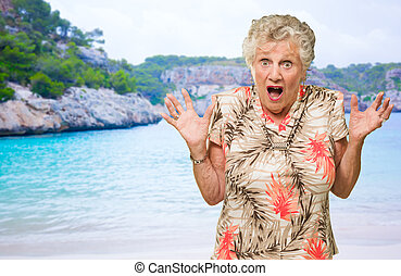 Shocked Senior Woman - Portrait Of Shocked Senior Woman On...