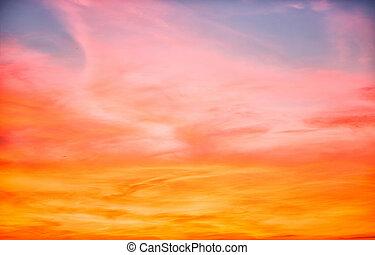 美麗, 橙, 天空