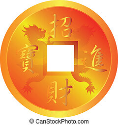 Chinese Gold Coin with Dragon Symbols - Chinese Gold Coin...