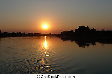 sunset on po river