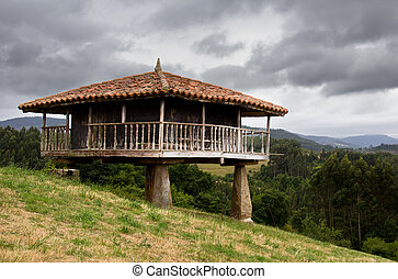 traditional construction in Asturias, Spain