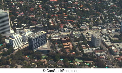 Aerial, West Hollywood, California - Flying from West to...
