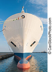 Bow of dry cargo ship - Bulbous bow of dry cargo ship docked...