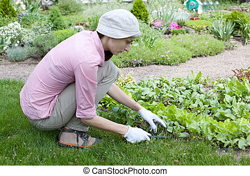 Young woman working in the garden bed