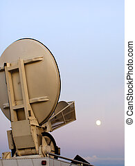 Space Communication - Satellite dish on top of a tv...