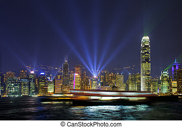 Hong Kong Harbour Lights - Long time exposure of ships...