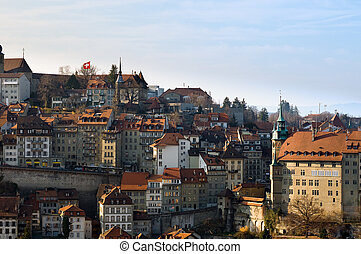 Old Town of Fribourg - View over the historic city center of...