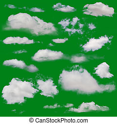White clouds isolated. Cut Out over green chroma background....