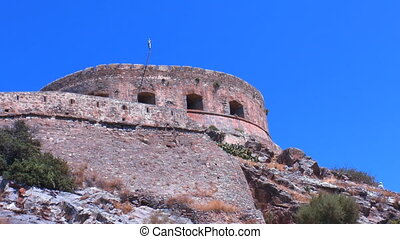 Spinalonga venetians fortress with tourists, Crete