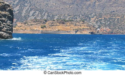 Moving Camera away from Spinalonga venetians fortress, Crete