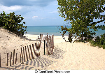 Indiana Sand Dunes - Indiana sand dunes on Lake Michigan's...