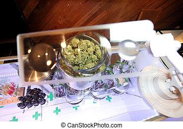 Medical marijuana - Marijuana viewed through a magnifying...