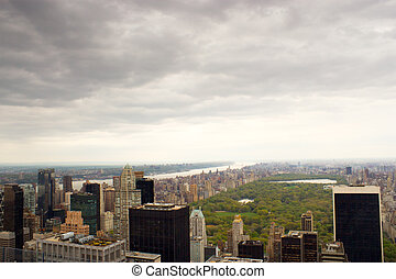 Upper West Side of New York - Aerial view of Central Park,...