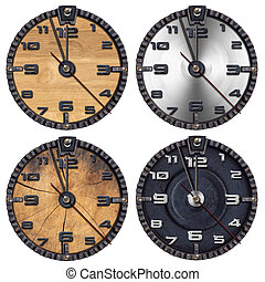 Set of Grunge Clocks - Collection of wooden and metallic...