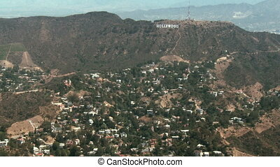Aerial Hollywood Sign 02 - Aerial view flying from East to...